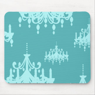 blue chadelier damask on aqua blue mouse pad