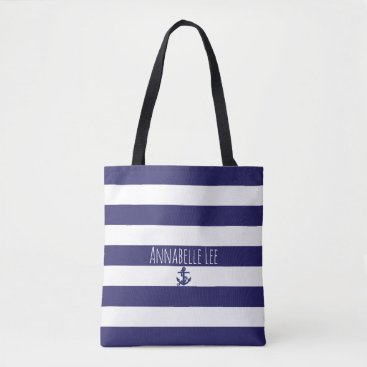 Beach Themed Blue Chain Anchor Tote Bag