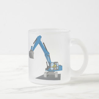 blue chain excavator frosted glass coffee mug