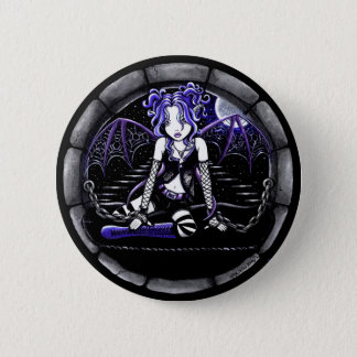 """""""Blue Chained"""" Gothic Fairy Art Pinback Button"""