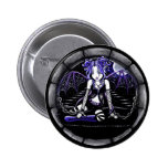 """Blue Chained"" Gothic Fairy Art Pinback Button"