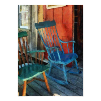 Blue Chair Against Red Door Card