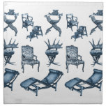 Blue chairs printed napkin