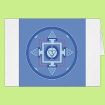 Blue Chakra Mandala Meditation Yoga Energy Card