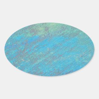 Blue Chalk Art Oval Sticker