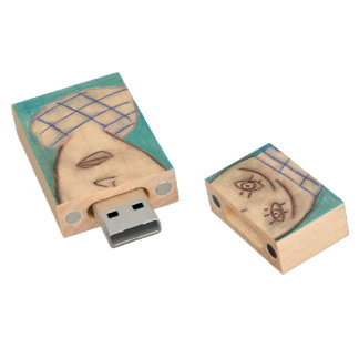 Blue Chalk Drawing Single Man, usb flash drive