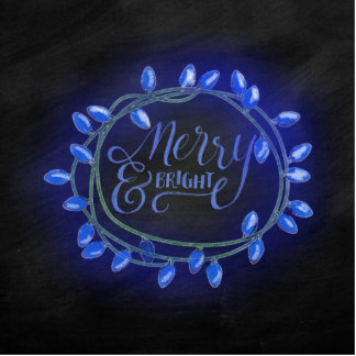 Blue Chalk Drawn Merry and Bright Holiday Cutout