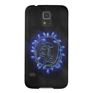 Blue Chalk Drawn Merry and Bright Holiday Galaxy S5 Case