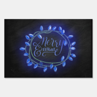 Blue Chalk Drawn Merry and Bright Holiday Lawn Sign