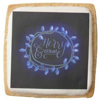 Blue Chalk Drawn Merry and Bright Holiday Square Shortbread Cookie