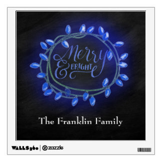 Blue Chalk Drawn Merry and Bright Holiday Wall Sticker