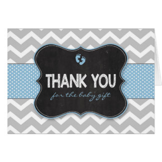 Blue Chalkboard boy baby shower thank you notes