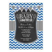 Blue Chalkboard Chevron Baby Shower Invite