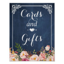 Blue Chalkboard Floral Cards and Gifts Sign