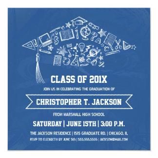 Blue Chalkboard Graduation Invitation with Photo