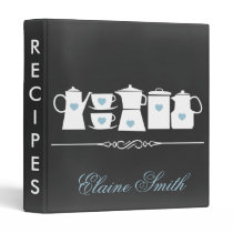 Blue Chalkboard Kitchen Bridal Recipe Folder