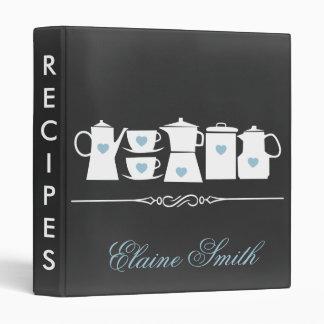Blue Chalkboard Kitchen Bridal Recipe Folder Vinyl Binders