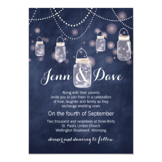 Blue Chalkboard Mason Jar Wedding Invitation