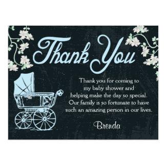 Blue Chalkboard Shower Thank You Cards