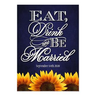 Blue Chalkboard Sunflower Wedding Invitations