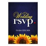 Blue Chalkboard Sunflower Wedding RSVP Cards