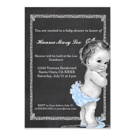 Blue Chalkboard Vintage Baby Shower Invitation