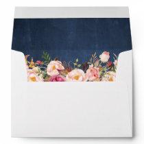 Blue Chalkboard Vintage Pink Floral 5x7 Invitation Envelope