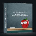 "Blue Chalkboard with Apple Personalized Binder<br><div class=""desc"">Fun chalkboard look personalized binder</div>"