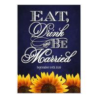 Blue Chalkdboard Sunflower Wedding Invitations (<em>$2.27</em>)