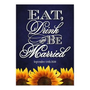 Blue Chalkdboard Sunflower Wedding Invitations 5