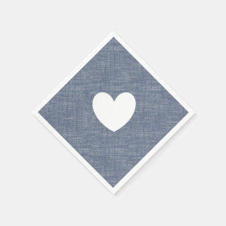 Blue chambray denim heart custom paper napkin