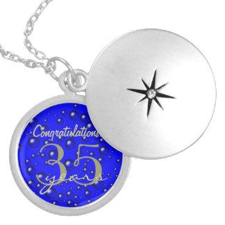 Blue Champagne Bubbles 35 Anniversary Locket Necklace