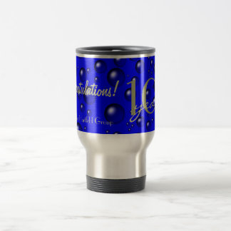 Blue Champagne Bubbles Anniversary 15 Oz Stainless Steel Travel Mug