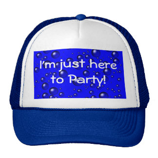 Blue Champagne Bubbles Here to Party Trucker Hat