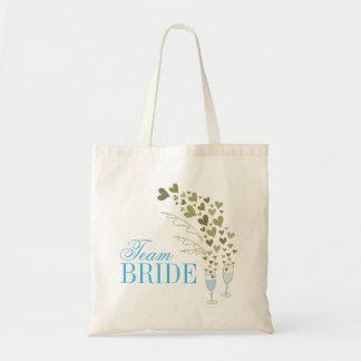 Blue Champagne Cheers Bachelorette Bridal Tote Bag