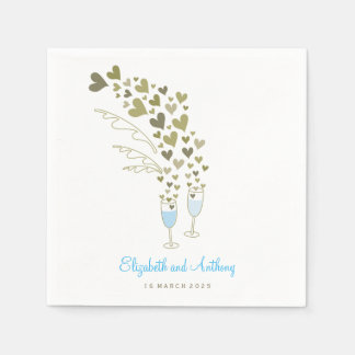 Blue Champagne Cheers Gold Hearts Wedding Party Paper Napkin