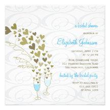 Blue Champagne Cheers Golden Hearts Bridal Shower Custom Invitations