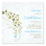 Blue Champagne Cheers Golden Hearts Bridal Shower 5.25x5.25 Square Paper Invitation Card