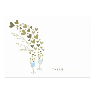 Blue Champagne Cheers Hearts Wedding Place Cards