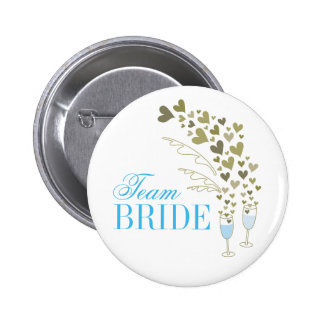 Blue Champagne Cheers Team Bride Wedding Button