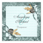 """Blue champagne lace country locket 5.25"""" square invitation card"""