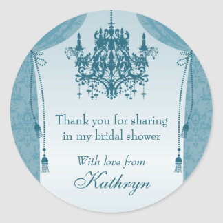 Blue Chandelier and Damask Curtain Bridal Shower Classic Round Sticker