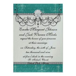 blue chandelier and vintage writing card
