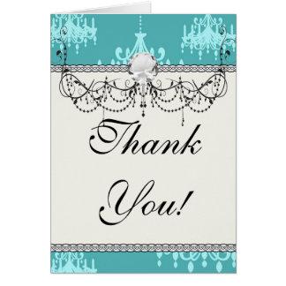 blue chandelier damask on blue aqua card
