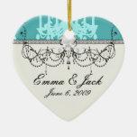 blue chandelier damask on blue aqua ornaments