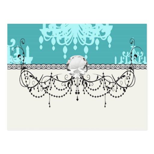 blue chandelier damask on blue aqua post card