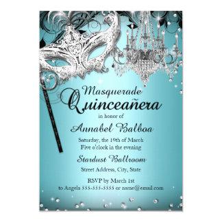Blue Chandelier Masquerade Quinceanera Invite