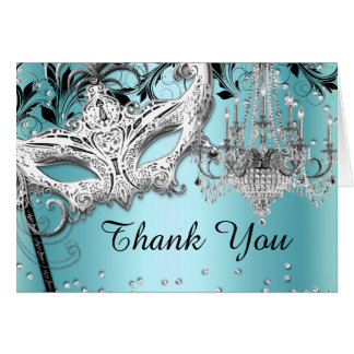 Blue Chandelier Masquerade Thank You Card