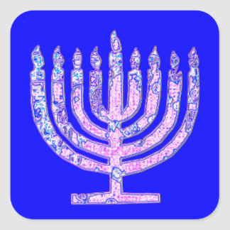 Blue Chanukah Menorah 4Ruth Square Sticker