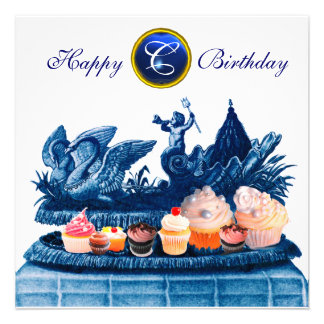 BLUE CHARIOT OF SWANS AND CUPCAKES BIRTHDAY PARTY PERSONALIZED INVITATION